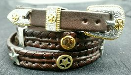 New Brown Hatband Braided Leather w/ Silver+Gold,Star & Crystal Conchos Hat Band - $27.80