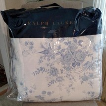 New $215 Ralph Lauren Archival Collection Dauphine Blue White Twin Comfo... - $98.99