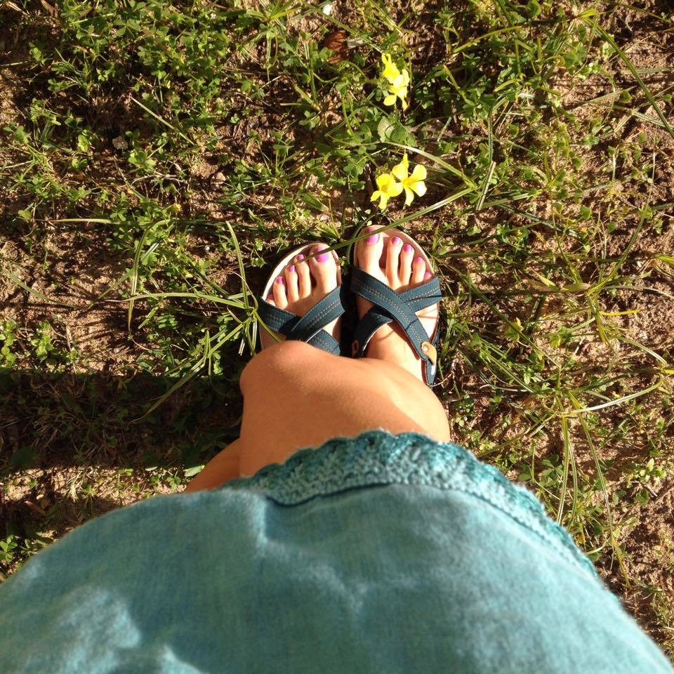 nae Flat vegan sandal blue strappes cross made on recycled PET