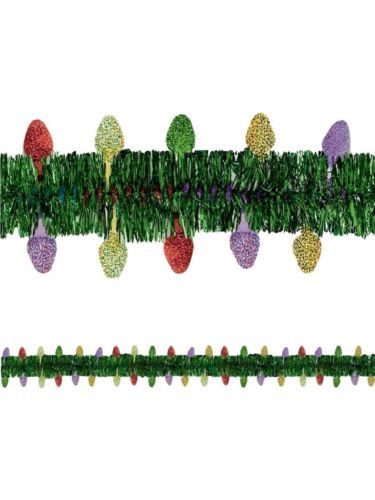 Christmas Prismatic Lights Tinsel Garland 12 Ft