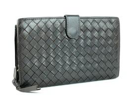 Auth Bottega Veneta Intrecciato Long Bifold Wallet Purse Leather Brown I... - $201.96