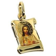 Colgante Medalla de Oro Amarillo 750 18K, Jesús Sagrada Corazón Pergamino Uñas image 2