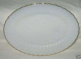 Anchor Hocking Golden Shell Pattern Milk Glass Oval Platter - $9.85
