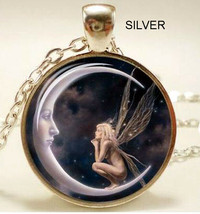 Fairy Sitting on Moon Claiming Pendant  Fantasy Pendant  Silver - $5.70