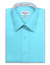 Berlioni Italy Men's Slim-Fit Premium French Convertible Cuff Solid Dress Shirt image 2