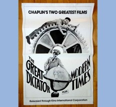 vintage orig MOVIE POSTER CHARLIE CHAPLIN Great Dictator Modern Times th... - $42.50