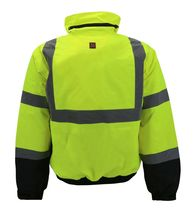 Men's Class 3 Safety High Visibility Water Resistant Reflective Neon Work Jacket image 8