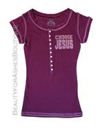 Love Henley Button Up Junior Girls Choose Jesus Be Saved Stretch Blend T... - $17.95