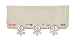 Christmas Wishes Mantle Scarf Snowflakes Holiday Decor - $36.62