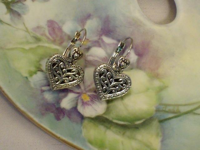 Cookie Lee Silver Heart Earrings - Item #18271 - New!