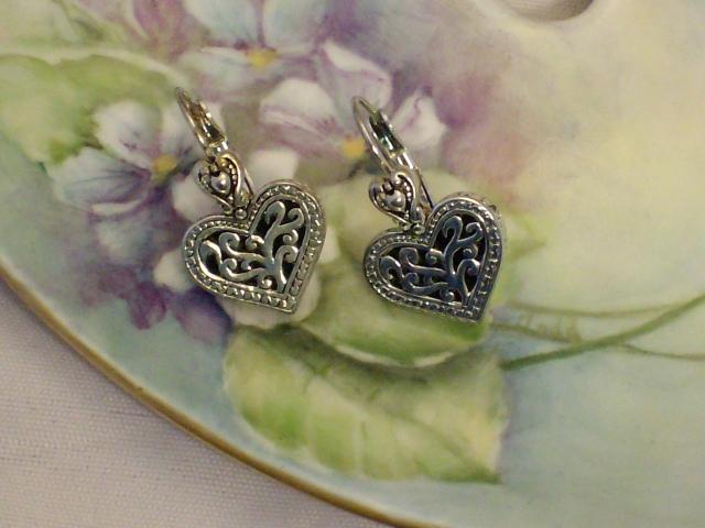 Cookie Lee Silver Heart Earrings - Item #18271 - New! image 2