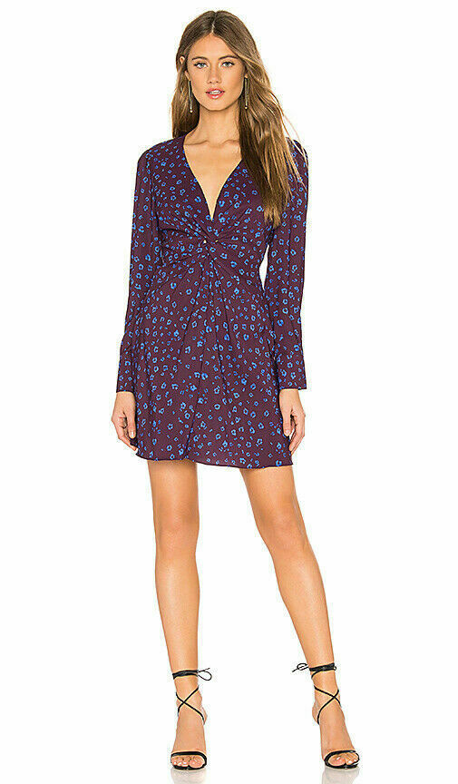 Primary image for NEW Parker Dress Bernette Long Sleeve V Neck Twist Front Purple Sz 0 NWT $288