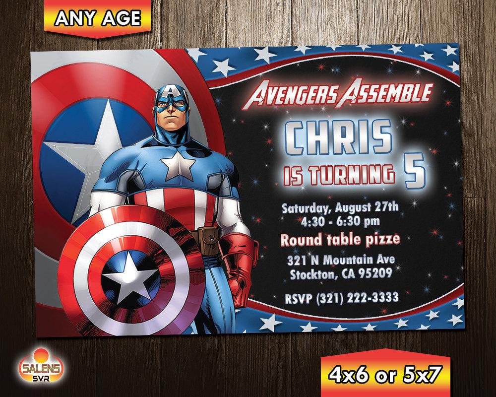 Captain America Birthday Party Invitation / and similar items