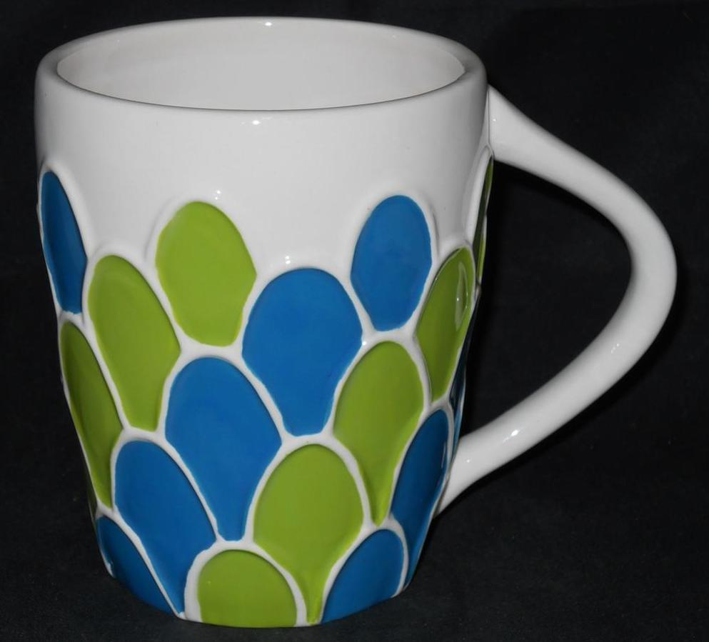 Primary image for 2009 STARBUCKS Hand Painted Blue & Green Scallop Shapes Coffee Cup Mug 14 oz