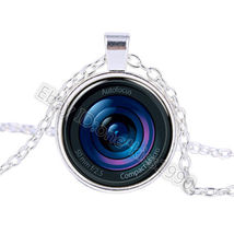 Camera Iris Eye Glass Pendant Cabochon Necklace - $2.50