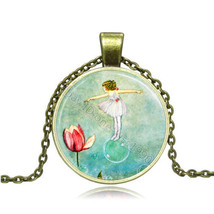 GIRL IN A BUBBLE GLASS PENDANT CABOCHON NECKLACE     C/S & H AVAILABLE  - $2.75