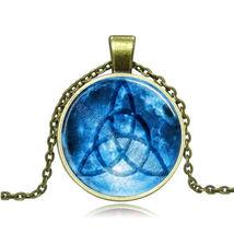 Blue Power Symbol Glass Pendant Cabochon Necklace - $2.50