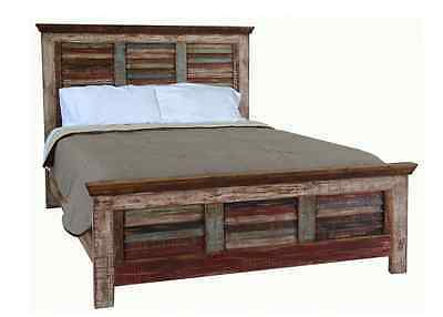 Queen Cabana Multi Color Louvered Bed Rustic Western Shabby Chic Real Solid Wood