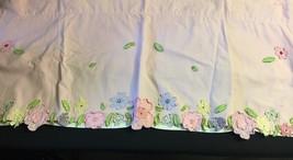 One Pottery Barn Kids Pink Daisy Flowers Garden Valance Appliqué Floral - $9.46