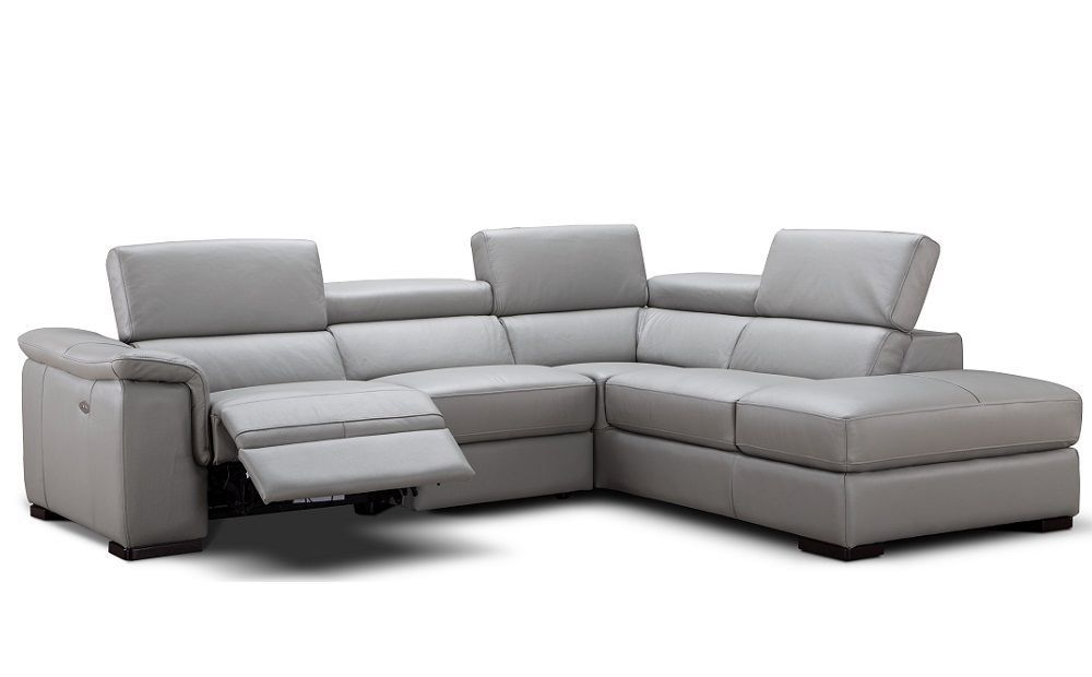 J&M Perla Grey Premium Italian Leather Sectional Modern Right Hand Facing