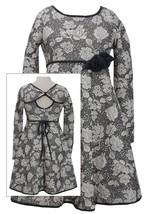 Bonnie Jean Big Girls 7-16 Grey Ivory Textured Floral Knit Fit Flare Dress