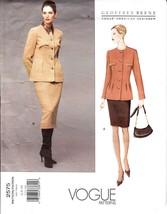 Vogue Designer Pattern 2575 Geoffrey Beene Misses Suit Jacket Skirt 6 8 10 - $11.99