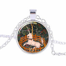 Unicorn In A Fence Glass Pendant Cabochon Necklace C/S & H Available - $3.00