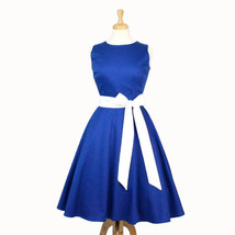 Classic Blue Full Circle Dress with Sash - $59.95
