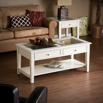 Solid Wood Shadow Box Display Coffee Table Glass Top 2 Drawers Shelf Off... - €216,75 EUR