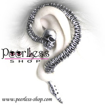 Gothic ~ Necacrosome SKULL on SPINE EAR-CUFF / EARRING Ancient Silver Fr... - $20.00