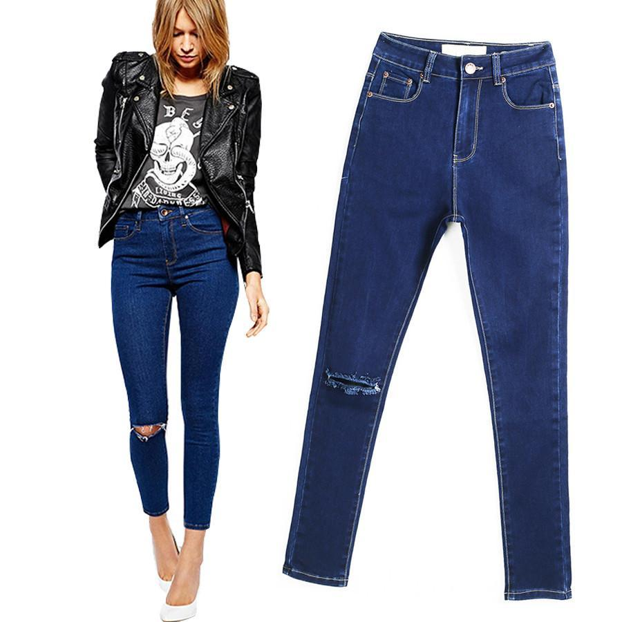 2016 New Arrival Skinny Jeans For Women Europen Style Slim Pencil Pants Knee Hol - $43.06