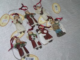 Lot of 7 Small Red & White Resin Girl Boy w Snowman Playing Musical Instrument image 2