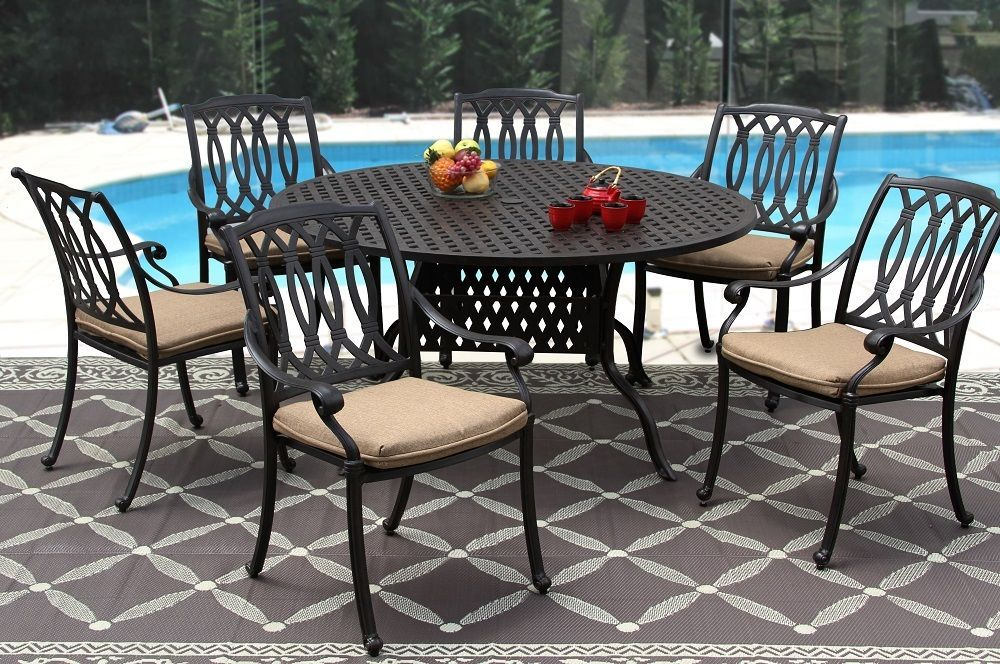 New 7 piece patio dining set Cast Aluminum Garden Furniture Outdoor - SAN MARCOS