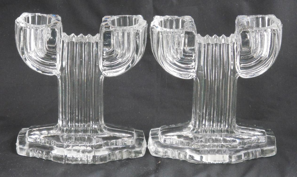 Primary image for Anchor Hocking 1936-1949 Queen Mary Candlesticks Prismatic Line Vertical Ribbed