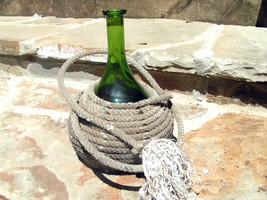 Blown Green Glass Wine Jug Bottle Wrapped Lariat Lasso Riata Rope BZ - $79.99