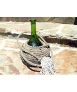 Blown Green Glass Wine Jug Bottle Wrapped Lariat Lasso Riata Rope BZ - $79.99