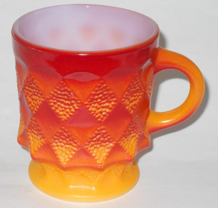 Primary image for Anchor Hocking ~ Fire King ~ Kimberly Milk Glass Stackable Orange Yellow Cup Mug