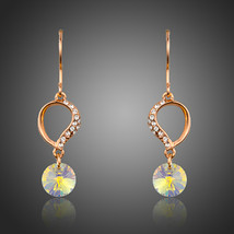 AristaGems Dangling Small Cute Flower With Stellux Austrian Crystal Drop Earring - $10.00