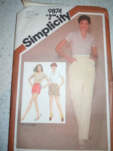 Vintage 1980 Simplicity Miss Size 14 Pants and Shorts Pattern #9874 - $4.99
