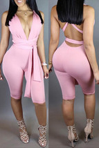 Sleeveless, Bandage, Backless, Pink, Cotton Blend, One-piece Jumpsuit - $29.00