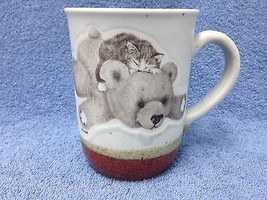 VINTAGE OTAGIRI Kitten Sleeping On Teddy Bear Mug Jonah's Workshop Japan - $14.95