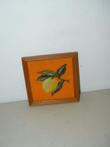 Vintage Lemon Framed Needlepoint Wool 7 Inches 14877 Fruit - $11.74