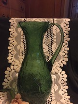 Lg Vtg. Green Hand Blown Green Glass Pitcher - $15.83