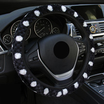 Cute Black Car Steering Wheel Cover Women Snowflakes Cashmere Warm Winte... - $8.69