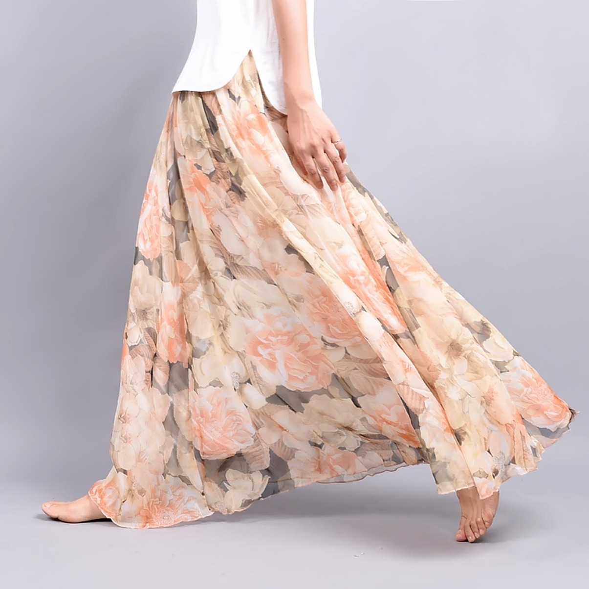 2016 ss floral chiffon long skirt peach peonies model