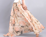 2016 ss floral chiffon long skirt peach peonies model thumb155 crop