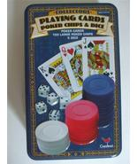 Playing Cards Poker Chips & Dice in Blue Collectors Tin Cardinal - $7.87