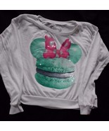 Disney Minnie Mouse White long sleeve tshirt Size S small Woman's Sequin - $15.63