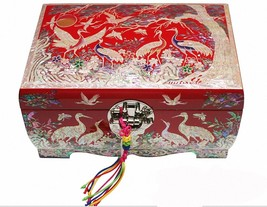 Mother of pearl wood  trinket jewelry box jewel case organizer crane red - €232,54 EUR