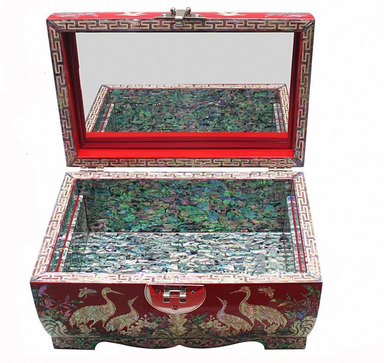 Mother of pearl wood  trinket jewelry box jewel case organizer crane red